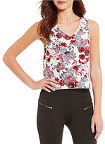Kensie Antique Floral V-Neck Sleeveless Top
