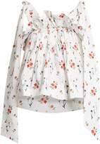 TEIJA Floral-print ruffle blouse