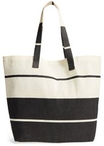 Cesca Colorblock Straw & Cotton Tote - Black