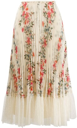 RED Valentino Floral Print Pleated Skirt