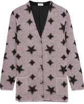Saint Laurent Metallic Intarsia Mohair-blend Cardigan - Lilac