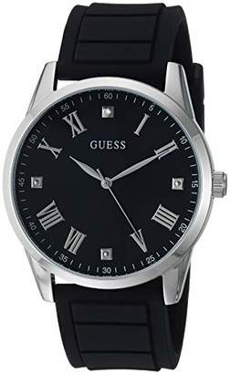 GUESS Comfortable Black Stain Resistant Silicone Watch with Black Genuine Diamond Dial + Silver-Tone Roman Numerals. Color: Black (Model U1221G1)