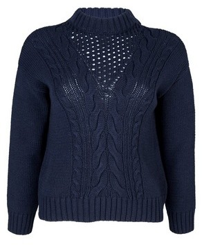 Dorothy Perkins Womens Dp Petite Navy Cotton Cable Jumper