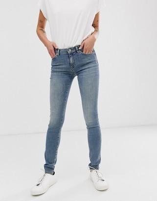 Selected regular waist mid wash blue skinny jeans