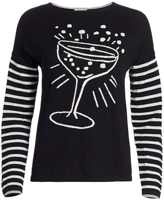 Joan Vass Petite Pop The Cork Stripe-Sleeve Sweater
