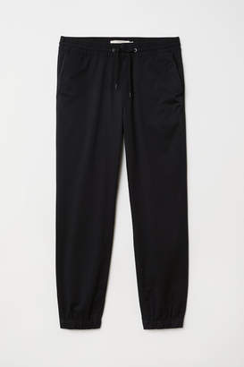 H&M Brushed Cotton Twill Joggers - Black