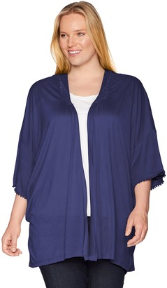 One World ONEWORLD Women's Solid Knit Kimono with Lace Trim