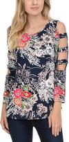 Celeste Navy Floral Cutout-Sleeve Tunic - Plus