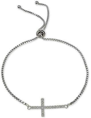 Giani Bernini Cubic Zirconia East-West Cross Bolo Bracelet in Sterling Silver