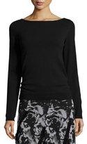 Fuzzi Long-Sleeve Lace-Up Sweater, Nero