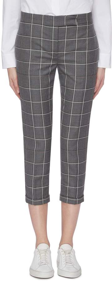 Thom Browne Cropped windowpane check wool twill skinny suiting pants