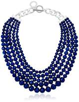 Anne Klein Silver-Tone and Blue Multi-Row Beaded Necklace
