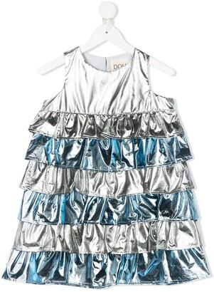 Douuod Kids Metallic Tiered Dress