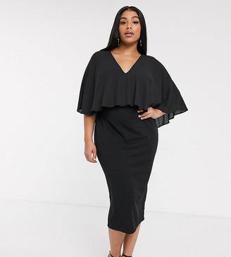 ASOS DESIGN Curve woven cape midi pencil dress