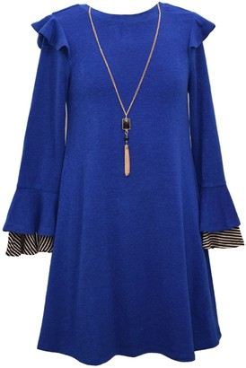 Bonnie Jean Girls 7-16 2-Piece Long Sleeve Knit Sweater Dress & Necklace Set