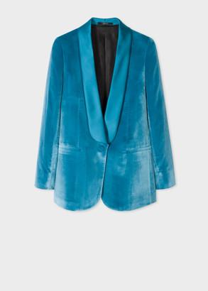 Paul Smith Womens Blue Velvet Shawl Collar Tuxedo Blazer