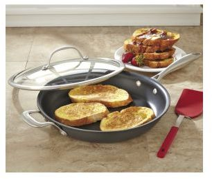"""Chefs Hard Anodized Fry Pan with Lid, 12"""""""
