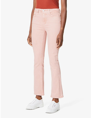 Paige Ladies Pink Cotton Embroidered Claudine Ankle Flare High-Rise Stretch-Denim Jeans, Size: 23