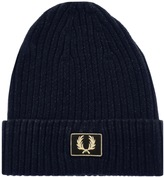 Fred Perry Two Tone Cotton Beanie Hat Navy
