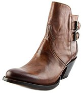 Lucchese Catalina Double Buckle Bootie Women Round Toe Leather Brown Ankle Boot.