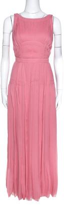 Prada Pink Silk Chiffon Pleated Sleeveless Maxi Dress S