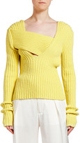 Bottega Veneta Asymmetric Square-Neck Ribbed Sweater