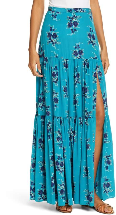 Serence Floral Print Silk Maxi Skirt