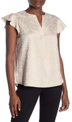 Calvin Klein Flutter Sleeve Print Blouse