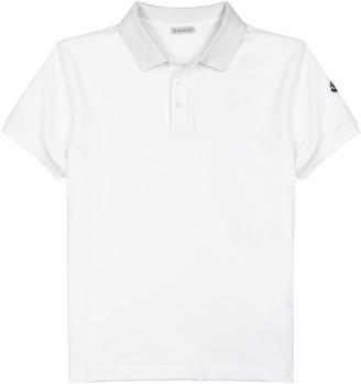 Moncler White Pique Cotton Polo Shirt