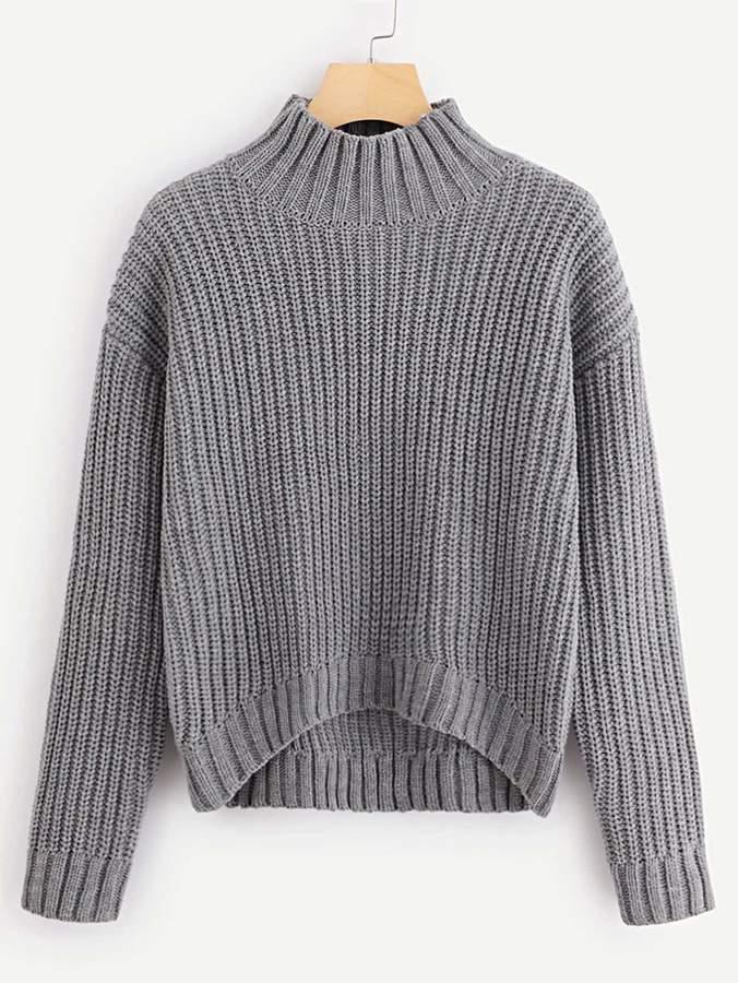 Shein Dip Hem Chunky Knit Sweater