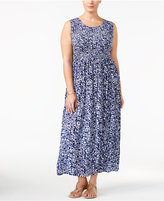 NY Collection Plus Size Printed Smocked Maxi Dress