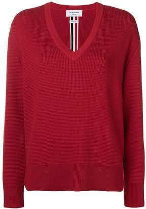 Thom Browne Intarsia Stripe Boxy V-Neck Pullover