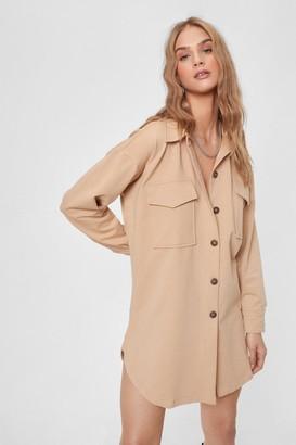 Nasty Gal Womens Pocket to Work Button-Down Shirt Dress - Light Stone