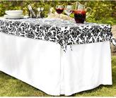 Lifetime 6 ft. Utility Table in White Table Cloth with Black and White Damask Topper