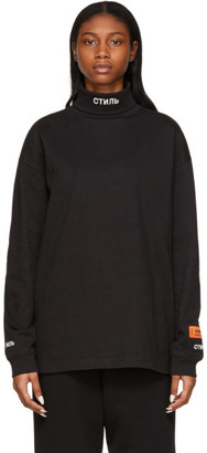 Heron Preston Black Roll Neck Style Turtleneck