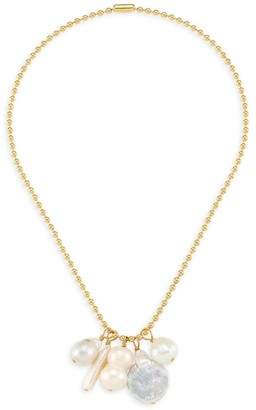 Nest Goldplated 13-20MM Baroque Freshwater Pearl Charm Ball Chain Necklace
