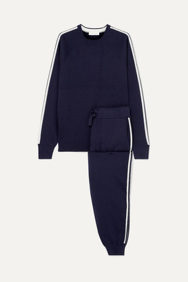 Olivia von Halle Missy Paris Striped Silk-blend Sweatshirt And Track Pants Set - Navy