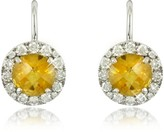 Forzieri 0,43 ct Diamond Pave 18K White Gold Earrings w/Citrine Quartz