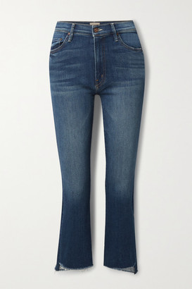 Mother The Insider Cropped Frayed High-rise Flared Jeans - Blue