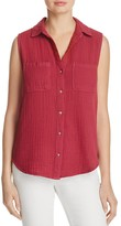 Side Stitch Sleeveless Button Back Shirt