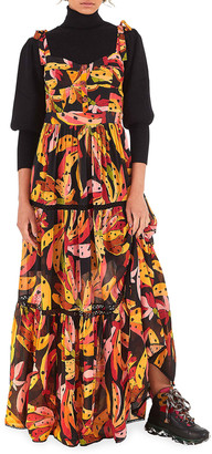 Farm Rio Banana-Print Maxi Dress