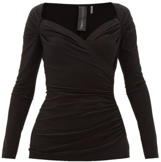 Norma Kamali Queen Anne-neckline Gathered Stretch-jersey Top - Womens - Black