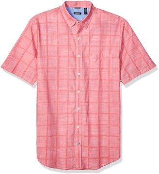 Izod Men's Tall Saltwater Short Sleeve Windowpane Button Down Shirt