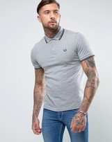 Fred Perry Slim Pique Polo Shirt Twin Tipped in Gray Marl