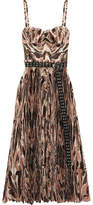 Alexander McQueen Belted Pleated Printed Silk Crepe De Chine Midi Dress - Beige