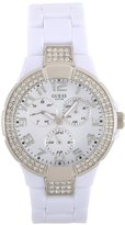 GUESS GUESS? Women's W13564L1 White Plastic Band And Case Gem Accents Watch