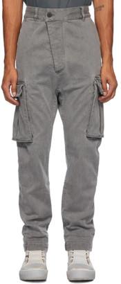 11 By Boris Bidjan Saberi Grey Denim Used Cargo Pants