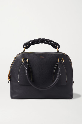 Chloé Daria Medium Textured And Smooth Leather Tote - Navy
