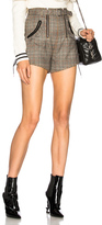 Self-Portrait Checked Double Zip Shorts in Checkered & Plaid,Gray.