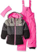 Pink Platinum Little Girls' Circle Quilted Better Snowsuit, Grey